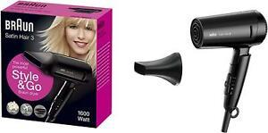 BRAUN Satin Hair 3 Style&Go klappbarer Haartrockner 1600W Reise Fön Föhn schwarz
