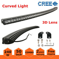 """Slim 50"""" 240W Single Row Curved LED Light Bar Combo Off road Truck ATV Ford 4WD"""