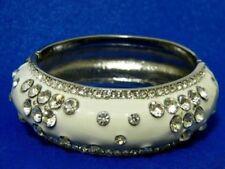 White Enamel Crystal Rhinestone Metal Silver Bangle Fashion Bracelet NEW