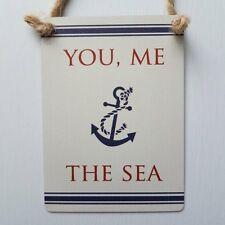 YOU, ME THE SEA CHIC N SHABBY MINI METAL NAUTICAL COASTAL SEASIDE ANCHOR SIGN