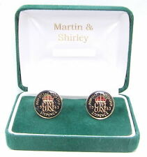 coins in Black & Gold 1943 Sixpence cufflinks from real