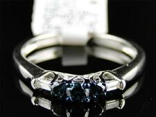 10K Ladies Round Cut 3 Stone Blue Diamond Engagement Wedding Band Ring .27 Ct
