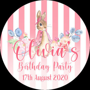 24 Personalised Stickers For Party/Sweet Cone Bags Flopsy Bunny Peter Rabbit