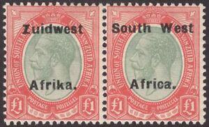 South West Africa 1926 KGV Zuidwest 9½mm Gap Opt £1 Pair Mint SG40a cat £300
