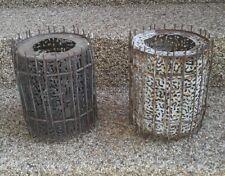 (2) Antique Metal Folk Art Primitive Candle Holders Advertising Brutalist Rare