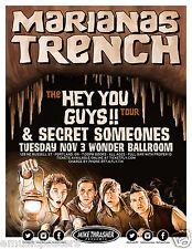 "MARIANAS TRENCH/SECRET SOMEONES ""HEY YOU GUYS TOUR"" 2015 PORTLAND CONCERT POSTER"