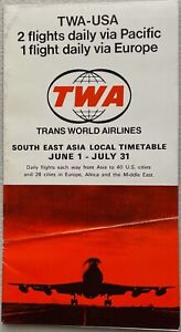 TWA  Airlines - Around the World Timetable via Southeast Asia Brochure - 1971