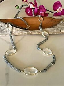CL Signed Natural Labradorite Faceted Rondelle Beads Gold Tone Long Necklace
