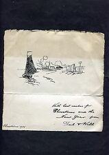 """Dated 1925 Personal Illustrated Card """"Best Wishes for Christmas"""" w Sailing Boat"""