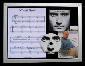 PHIL COLLINS+SIGNED+FRAMED+IN THE AIR TONIGHT=100% AUTHENTIC+EXPRESS GLOBAL SHIP
