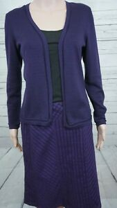 Talbots Skirt Suit 2 Pc  6P Skirt P Jacket Purple Open Front Sweater 100% Cotton