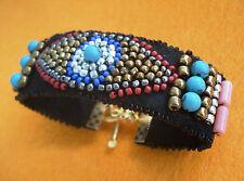 22 K Gold Embroidered Beaded Evil Eye Coral Turquoise Beads Black Felt Bracelet