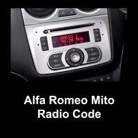 Alfa Romeo Mito Radio Code Stereo PIN Unlock Fast Service Bosch - All Models