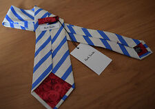 Paul Smith PALE BLUE TIE MAINLINE 10mm Stripe Classic Tie. Rose Back detail
