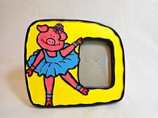 Pig Picture Frame PINK BALLERINA Holds 2x3 Photo Yellow