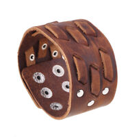 Punk Men Vintage Brown Leather Bracelets Cuff Wide Bangle Wristband Snap Jewelry