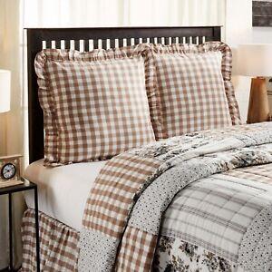 VHC 2 Annie Portabella Brown Check Country Farmhouse Bedding Fabric Euro Shams