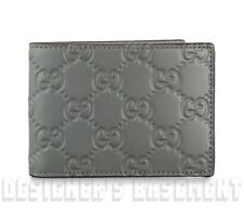 GUCCI Mens Narrow gray leather GUCCISSIMA embossed Bifold wallet NIB Authen $320