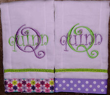 2 Purple and Green Personalized Embroidered Burp Cloths