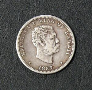 1883 Hawaii King Kalakaua Silver 25c Quarter ** BETTER DATE COIN ** CIRCULATED