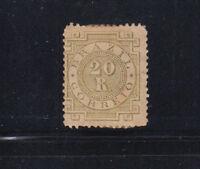 Brazil 1884 20r olive green Sc 87a  hinge remnant