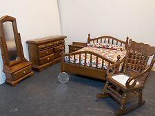 Dollhouse Miniature Walnut Bedroom Set with Mirror 1:12  one inch scale   K50