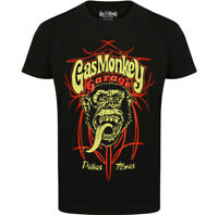 Official Gas Monkey Garage Essentials Mens Pinstripe T-Shirt Hot Rod GMG