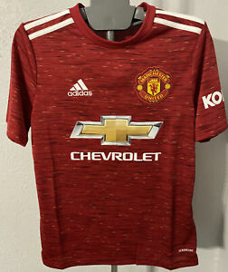 MANCHESTER UNITED YOUTH LARGE JERSEY ADIDAS KIDS CHEVROLET KNIT SOCCER FUTBOL
