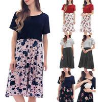 Women Pregnancy Maternity Nursing Summer Splice Floral Short Sleeve Short Dress