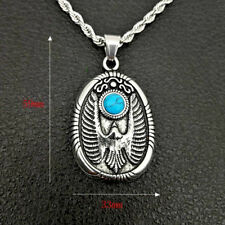 Men's Punk Titanium Stainless Steel Turquoise Animal Eagle Pendant Necklace Gift