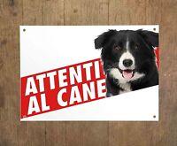 BORDER COLLIE 2 Attenti al cane Targa cartello metallo Beware of dog sign metal
