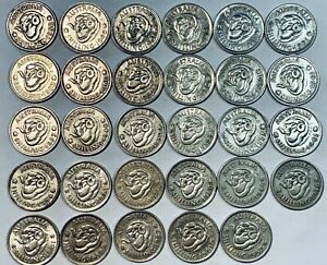 Australian Silver One Shilling Coins - Lot of 29 Coins