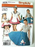 Girls 50's Costumes, Car Hop & Poodle Skirts NEW Simplicity Pattern 3836 Sz 7-14