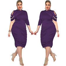 Womens Bodycon Pencil Cocktail Evening Ladies Hollow Party Frill Dress Plus Size UK 20-22 Blue