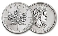 2012 Canada Maple Leaf .9999 Silver $5 Coin - 1 oz Troy - Five 5 Dollars