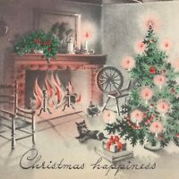 Vintage Mid Century Christmas Greeting Card Scottie Dog Relaxing By Fireplace