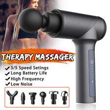 Massage Gun Deep Muscle Percussion Massager Vibrating Relaxing Black w/ 6