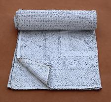Solid White Kantha Quilt Designer Kantha Embroidery Throw Boho Blanket Bed Cover