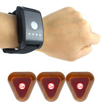 Restaurant Wireless Watch Paging System 4 Channel 1*Receiver+3*Call Button Pager