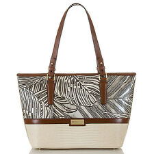 Brahmin Medium Asher Tropical Palm Print Leather Tote Satchel (Silver Loreto)