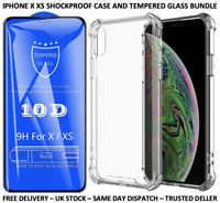 IPHONE X XS CLEAR SHOCKPROOF CASE & 10D TEMPERED GLASS SCREEN PROTECTOR BUNDLE