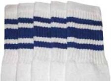 "19"" MID CALF WHITE tube socks with ROYAL BLUE stripes style 3 (19-38)"