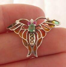 de jour enamel butterfly/bug brooch, 925 Solid silver emerald, ruby & plique