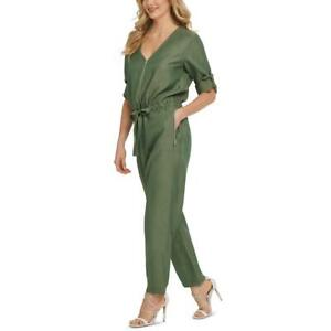 DKNY Womens V-Neck Adjustable Sleeves Casual Jumpsuit BHFO 1833