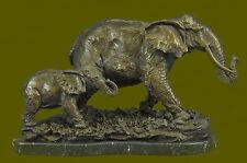 Mother & Baby Elephant Calf Signed Bugatti Hot Cast Bronze Art Sculpture Statue