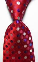 New Classic Polka Dot Red Blue White JACQUARD WOVEN 100% Silk Men's Tie Necktie