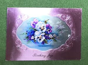 vintage 1970s Greeting Card BIRTHDAY JOY shiny  purple UNUSED