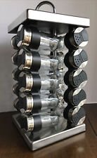 """Stainless Steel 15"""" Spice/Herb Rack 20 Empty Glass Jars + Caps Rotating Carousel"""