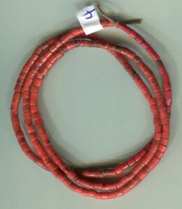 African Trade beads Vintage Bohemian Czech glass old red color tile beads