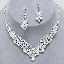 ELEGANT! CLEAR Crystal Rhinestone V Cluster Prom Pageant Bridal Necklace Set